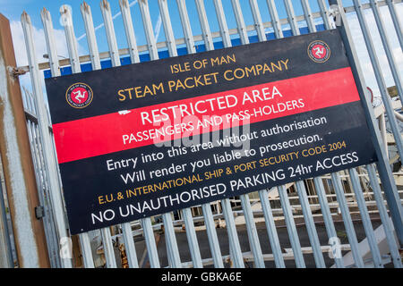 Isle of Man Ferry Steam Packet Company Restricted Area Notice - Stock Photo