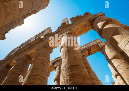 Portico with original color painting, Karnak Temple, Karnak, Luxor, Egypt - Stock Photo