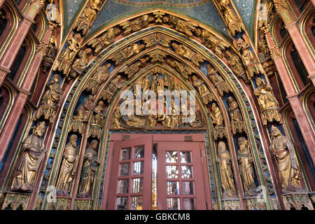 Entrance hall, Frauenkirche, Church of Our Lady, Nuremberg, Middle Franconia, Franconia, Bavaria, Germany - Stock Photo