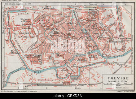 TREVISO Vintage town city map plan Italy 1927 Stock Photo