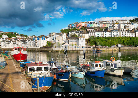 Fishing boats in the harbour at Brixham on the south coast of Devon in the Torbay district - Stock Photo
