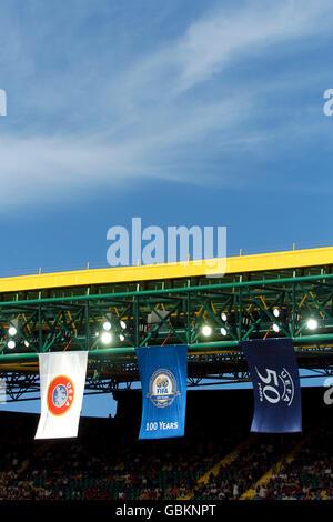 Soccer - UEFA European Championship 2004 - Quarter Finals - France v Greece. UEFA flags hang in the stadium