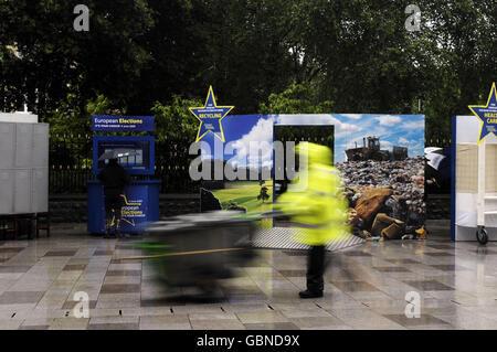 European Parliament Roadshow in Cardiff - Stock Photo