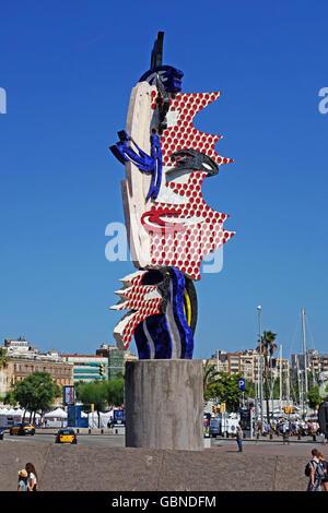 BARCELONA, SPAIN - AUGUST 1, 2015: El Cap de Barcelona (The Head of Barcelona) - a surrealist sculpture in Barcelona, - Stock Photo