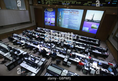 Moscow Region, Russia. 7th July, 2016. The Mission Control Centre panels during the launch of the Soyuz MS-01 spacecraft - Stock Photo