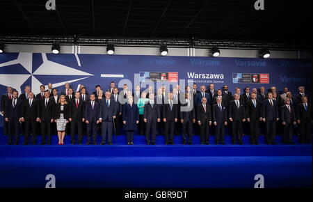 Warsaw, Poland. 8th July, 2016. Participants in a NATO summit pose for a group photograph. Credit:  Mikhail Palinchak/Press Office of the President of Ukraine/TASS/Alamy Live News Stock Photo