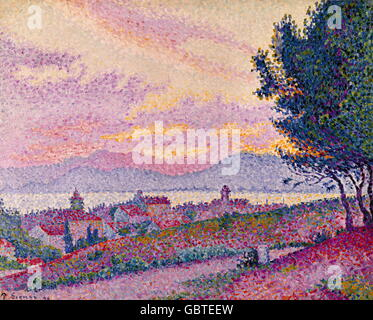 fine arts, Signac, Paul (1863 - 1935), painting, 'View of St. Tropez', oil on canvas, 1896, Musee de L'Annonciade, - Stock Photo