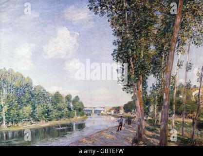 fine arts, Sisley, Alfred, (1839 - 1899), painting, 'Le tournant du Loing', 1892, oil on canvas, 65 x 92 cm, museum of modern art, Barcelona, Spain,