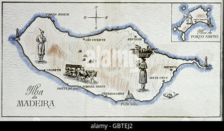 geography / travel, Portugal, Madeira, topographic map, 1958, Additional-Rights-Clearences-NA - Stock Photo