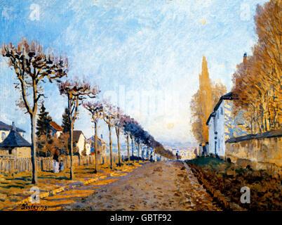 fine arts, Sisley, Alfred, (1839 - 1899), painting, 'La route vue du chemin de Sevres', 1873, Jeu de Paume, Paris,