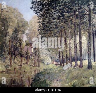fine arts, Sisley, Alfred, (1839 - 1899), painting, 'Le Repos du Ruisseau', 1872, Jeu de Paume, Paris,