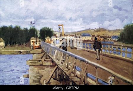 fine arts, Sisley, Alfred, (1839 - 1899), painting, 'La Passerelle d'Argentueil', 1872, Jeu de Peume, Paris,