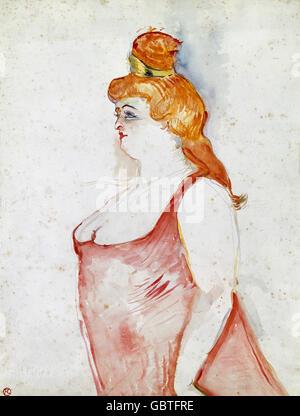 fine arts, Toulouse-Lautrec, Henri de (1864 - 1901), painting, 'Cocyte dans la Belle Helene' (Cocyte in The Beautiful - Stock Photo