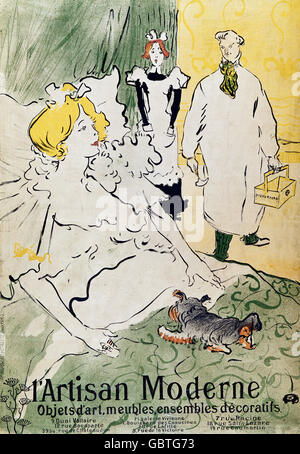 L'Artisan Moderne exhibition, advertising by Henri de Toulouse-Lautrec, 1894 - Stock Photo
