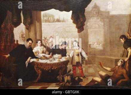fine arts, Sevilla, Juan de (1643 - 1695), painting, 'The Rich Man and the Beggar Lazarus' ('El Epulon y el Pobre - Stock Photo