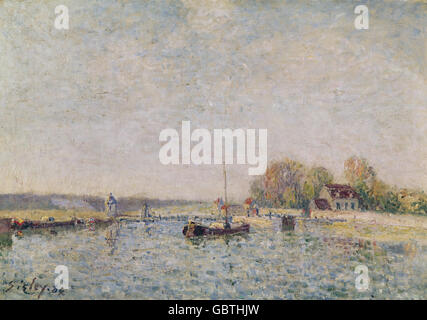 fine arts, Sisley, Alfred, (1839 - 1899), painting, 'Canal', 1887, oil on canvas, Von der Heydt Museum, Wuppertal, Germany,