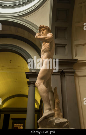 David statue by Michaelangelo in the Galleria dell'Accademia, Florence, Tuscany, italy - Stock Photo