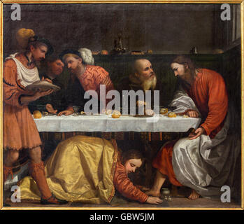 BRESCIA, ITALY - MAY 23, 2016:  The painting of The Supper in the house of simon the pharisee - Stock Photo