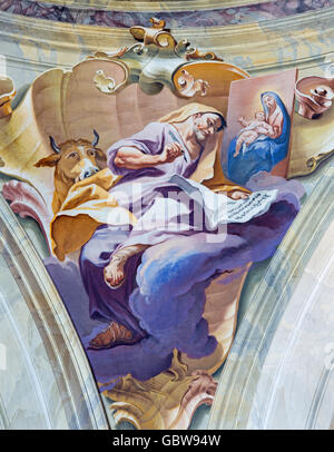 BRESCIA, ITALY - MAY 23, 2016: The fresco of st. Luke the Evangelist in cupola of Chiesa di Sant'Afra church by - Stock Photo