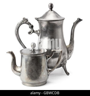 old coffee pot isolated on white background - Stock Photo