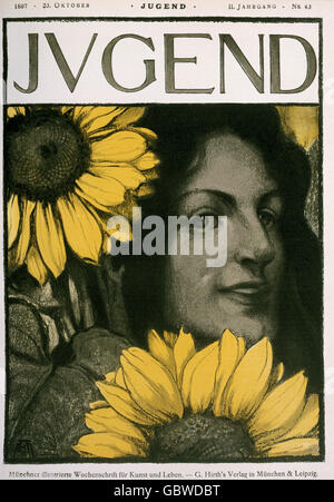 fine arts, Art Nouveau, graphic, woman with sunflowers, illustration, titlepage, from 'Jugend', No. 43, 23.10.1897, - Stock Photo