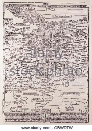 cartography, maps, Central Europe, 'Romweg' Map of Erhard Etzlaub, woodcut, Nuremberg, 1500, , Additional-Rights - Stock Photo
