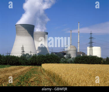 energy, nuclear power, power plant, Gundremmingen, Bavaria, West Germany, exterior view, cooling towers, 1990s, - Stock Photo