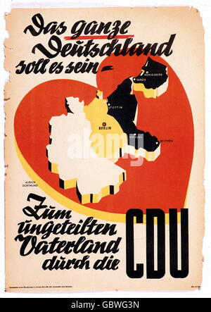 geography / travel, Germany, politics, election campaign, 1st parliamentary elections, 1949, election poster: 'Das - Stock Photo