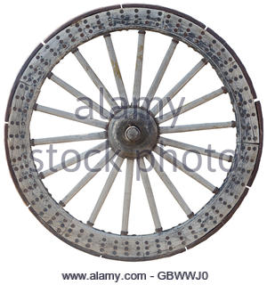 Old wooden wheel,isolated on white background. - Stock Photo