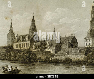 Denmark. Copenhagen. Frederiksborg Castle, a palatial complex in Hillerod. It was built as a royal residence for - Stock Photo