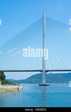 Tatara Bridge connecting the islands of Omishima and Ikuchi in the Seto Inland Sea between Honshu and Shikoku. - Stock Photo