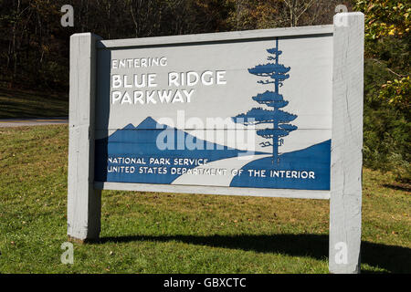 Entrance to Blue Ridge Parkway road sign, Asheville, NC, USA - Stock Photo