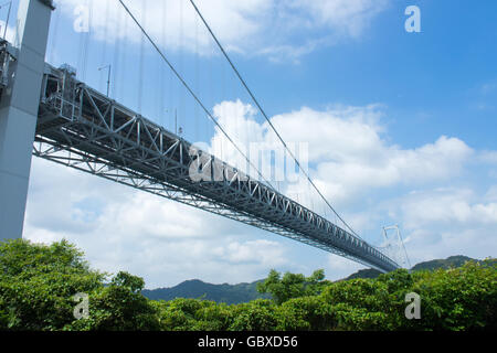 Innoshima Bridge connecting the islands of Innoshima and Mukaishima in the Seto Inland Sea between Honshu and Shikoku. - Stock Photo