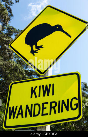 Kiwi warning road sign, Whakatane, North Island, New Zealand - Stock Photo