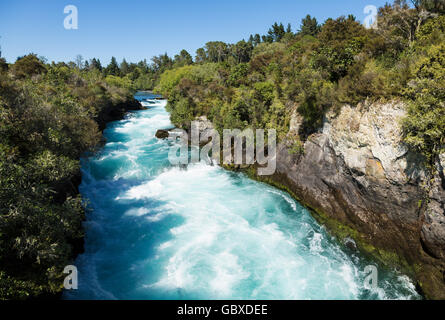 Hukafalls on Waikato River, Taupo, New Zealand - Stock Photo