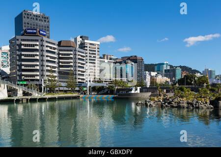 Wellington skyline the waterfront, New Zealand - Stock Photo