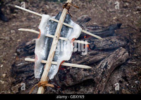 Bushcraft Salmon cooking - Stock Photo