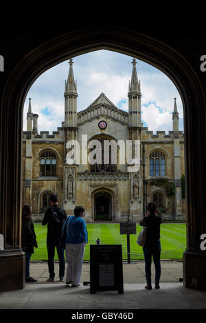 Entrance gate to New Court, Corpus Christi College, University of Cambridge, Cambridge, England, UK - Stock Photo