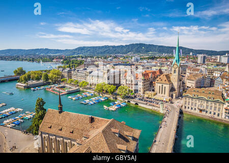 Aerial view of Zurich city center with famous Fraumunster Church and river Limmat at Lake Zurich from Grossmunster, - Stock Photo
