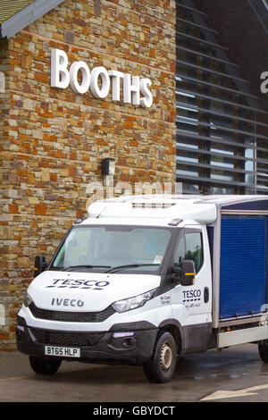 Tesco Home Delivery Iveco Van, food truck at Booths Supermarket in Hesketh Bank, Lancashire, Preston, UK.