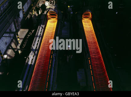 industry, metal industry, steel, Hamburg steelwork, interior view, steel wire production, wire rod production, 1972, - Stock Photo
