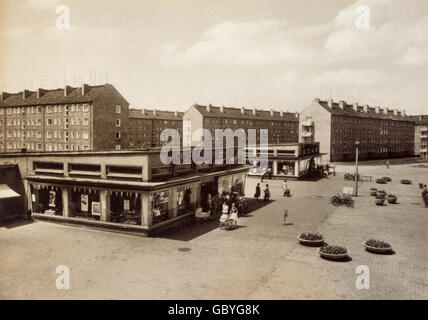 geography / travel, Germany, Wolfen, square with supermarkets at Gerhart-Hauptmann-Strasse, 1970s, Additional-Rights - Stock Photo