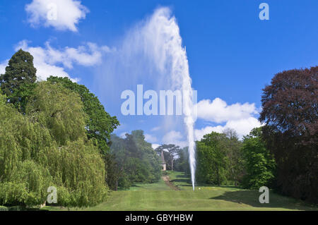 dh Stanway House COTSWOLDS GLOUCESTERSHIRE Tallest UK fountain 300 feet high single jet fountain in grounds garden - Stock Photo