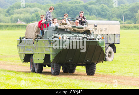 A DUKW amphibious vehicle being displayed at a War Weekend Show - Stock Photo