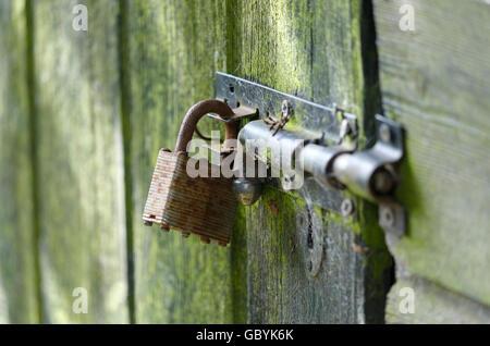 padlock on old, weathered garden shed, norfolk, england - Stock Photo