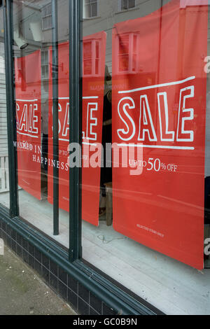 Hight street sales / retail sales / consumer confidence concept. Half-price sign.  Price reductions. - Stock Photo