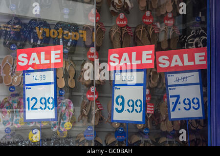 Hight street sales / retail sales / consumer confidence concept. Price reductions. - Stock Photo