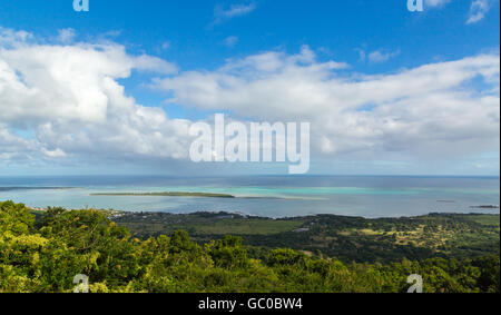 View on La Gaulette Mauritius from Plaine Champagne. - Stock Photo