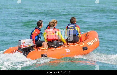 RNLI Arancia A-58 inflatable insure rescue boat lifeguard training on the sea near Littlehampton Beach, West Sussex, - Stock Photo
