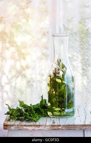 Hot mint tea - Stock Photo